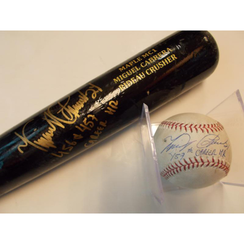 Autographed Miguel Cabrera 457th Career Home Run Baseball-456th & 457th Career Home Run Bat