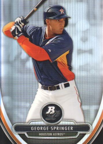 Photo of 2013 Bowman Platinum Chrome Prospects Refractor George Springer -- Astros post-season