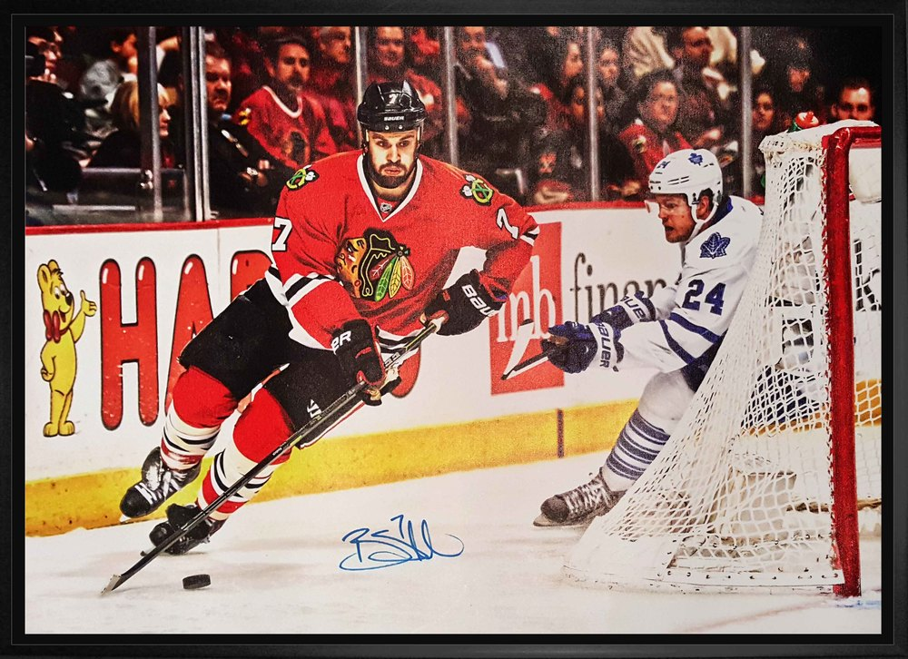 Brent Seabrook - Signed 20x29 Canvas Framed Chicago Blackhawks