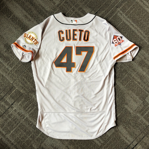 Photo of San Francisco Giants - Mother's Day Team-Issued Jersey - #47 Johnny Cueto (size 48)