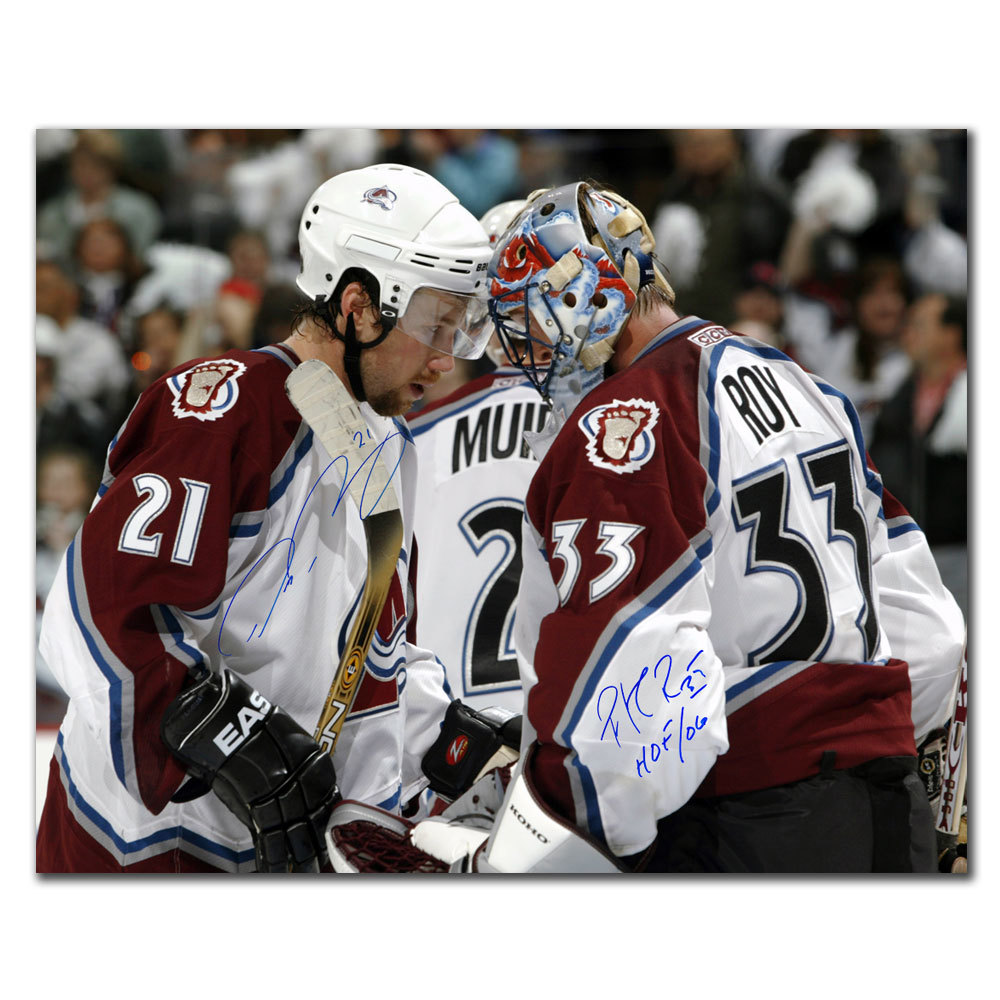 Peter Forsberg & Patrick Roy Colorado Avalanche VICTORY Dual Autographed 16x20