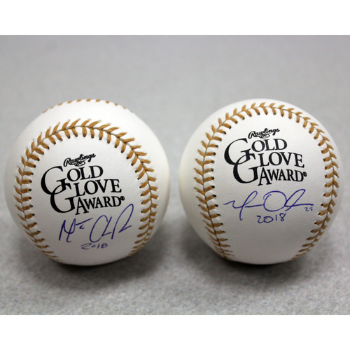 Photo of Matt Chapman & Matt Olson Autographed Gold Glove Baseballs
