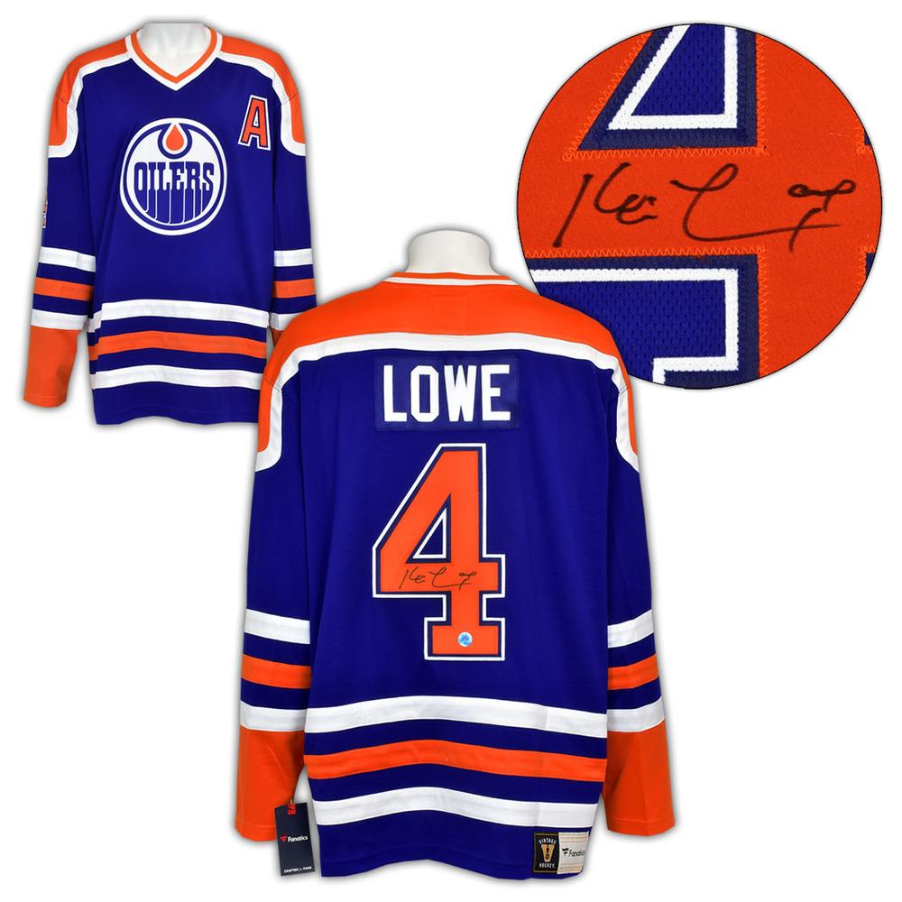 Kevin Lowe Edmonton Oilers Autographed Fanatics Vintage Hockey Jersey