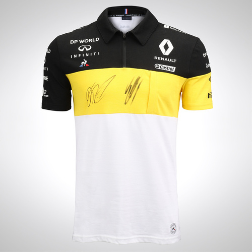 Photo of Daniel Ricciardo & Esteban Ocon 2020 Signed Renault DP World F1 Team Polo Shirt