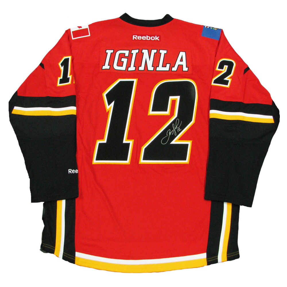 JAROME IGINLA Signed Calgary Flames Red Reebok Jersey