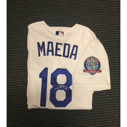 Photo of Kirk Gibson Foundation Auction: Kenta Maeda 2018 Game-Used Autographed Los Angeles Dodger Jersey - Autograph is Not MLB Authenticated
