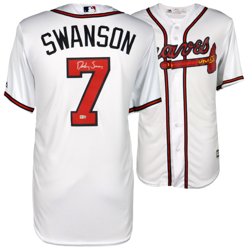 Photo of Dansby Swanson Atlanta Braves Autographed Majestic White Replica Jersey