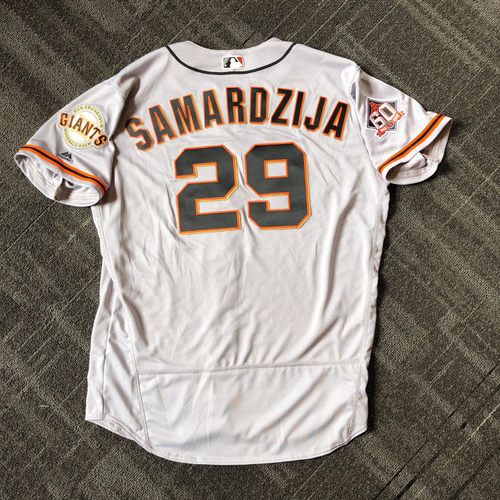 Photo of San Francisco Giants - Mother's Day Game-Used Jersey - #29 Jeff Samardzija (size 50)