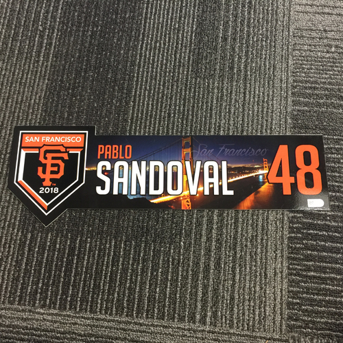 Photo of 2018 San Francisco Giants - Regular Season Team-Issued Locker Tag - #48 Pablo Sandoval