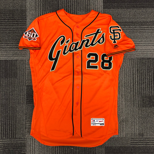 Photo of San Francisco Giants - 2018 Holiday Deal! - 2018 Team Issued Orange Friday Alternate Home Jersey - #28 Buster Posey - size 46