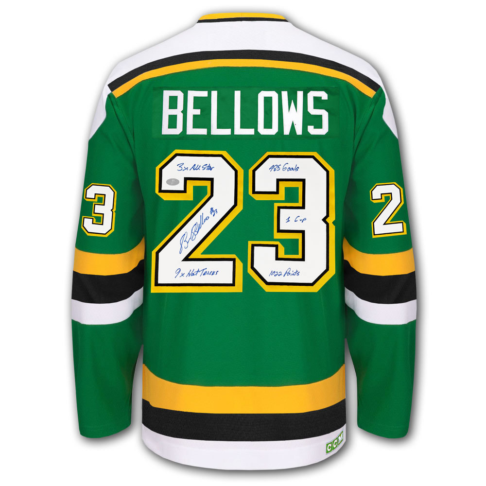 Brian Bellows Minnesota North Stars STATS CCM Autographed Jersey