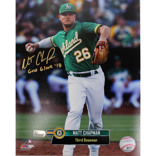 "Photo of Matt Chapman Autographed 8""x10"" Photo w/ ""Gold Glove '18"" Inscription"