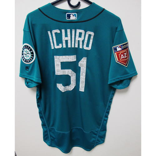 Photo of Seattle Mariners Ichiro Suzuki Team Issued 2018 Spring Training Green Jersey