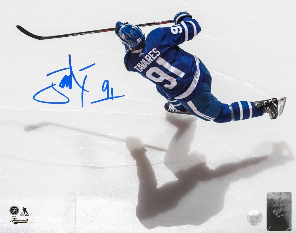 John Tavares Signed 8x10 Unframed Maple Leafs Overhead