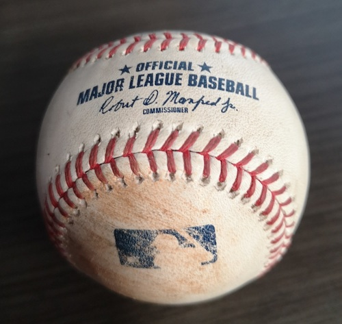 Photo of Authenticated Game Used Baseball: Strikeouts by Wilmer Font against Clint Frazier and Austin Romine (Sept 13, 19 vs NYY). Top 11.