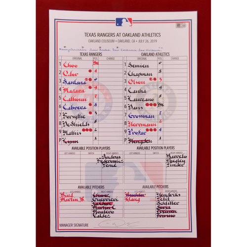 Photo of Game-Used Line-Up Card - July 26, 2019 - Texas Rangers @ Oakland Athletics