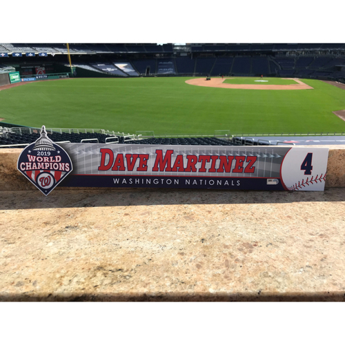 Photo of Dave Martinez Game-Used 2020 Locker Tag