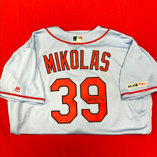 Photo of Miles Mikolas Autographed Team-Issued Road Alternate Jersey (Size 52)