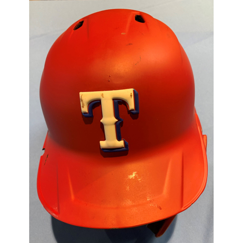 Adolis Garcia Game-Used Red Batting Helmet - 8/13/2021. Used Innings 1-6 - Size 7 1/4