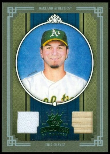 Photo of 2005 Diamond Kings Materials Framed Green #380 Eric Chavez Bat-Jsy/25