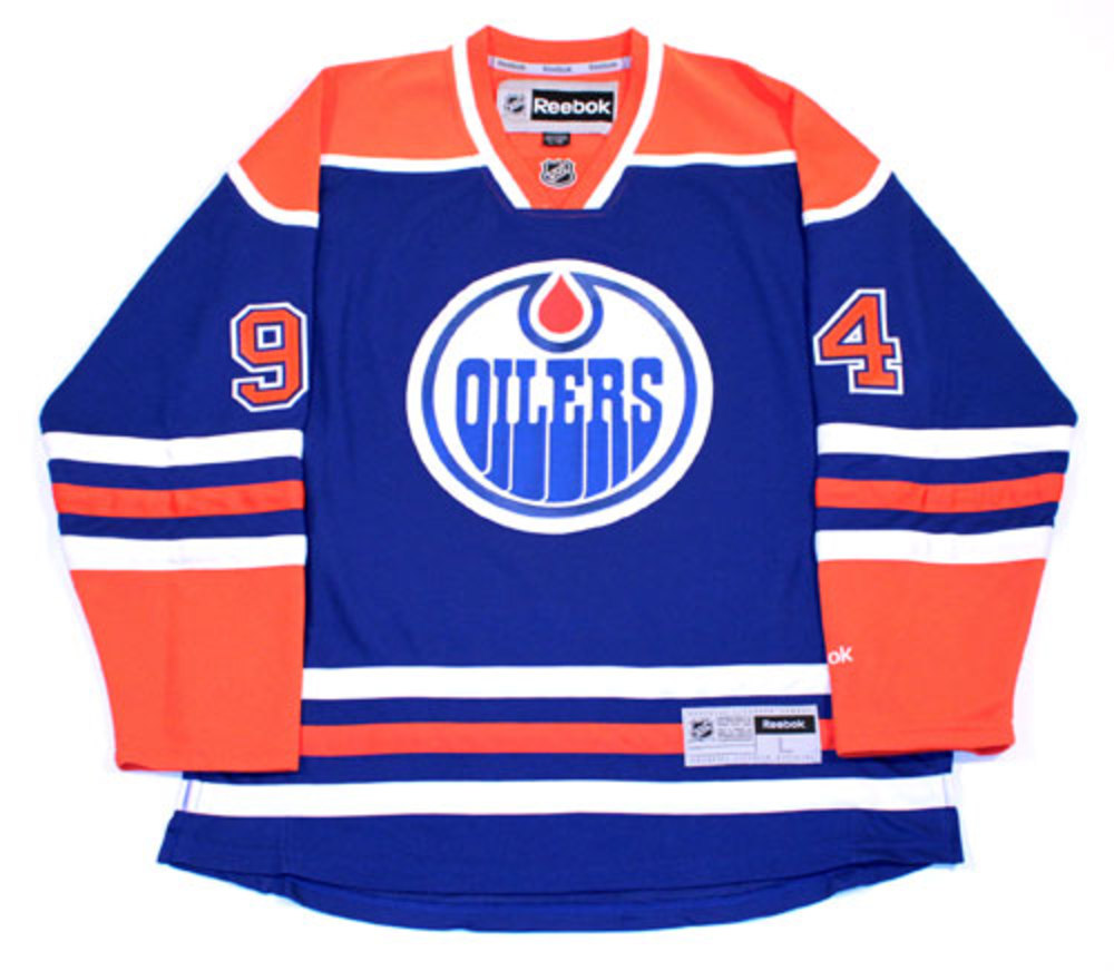 24fda6869 Ryan Smyth 94 - Autographed Edmonton Oilers Royal Blue RBK Replica Hockey  Jersey.