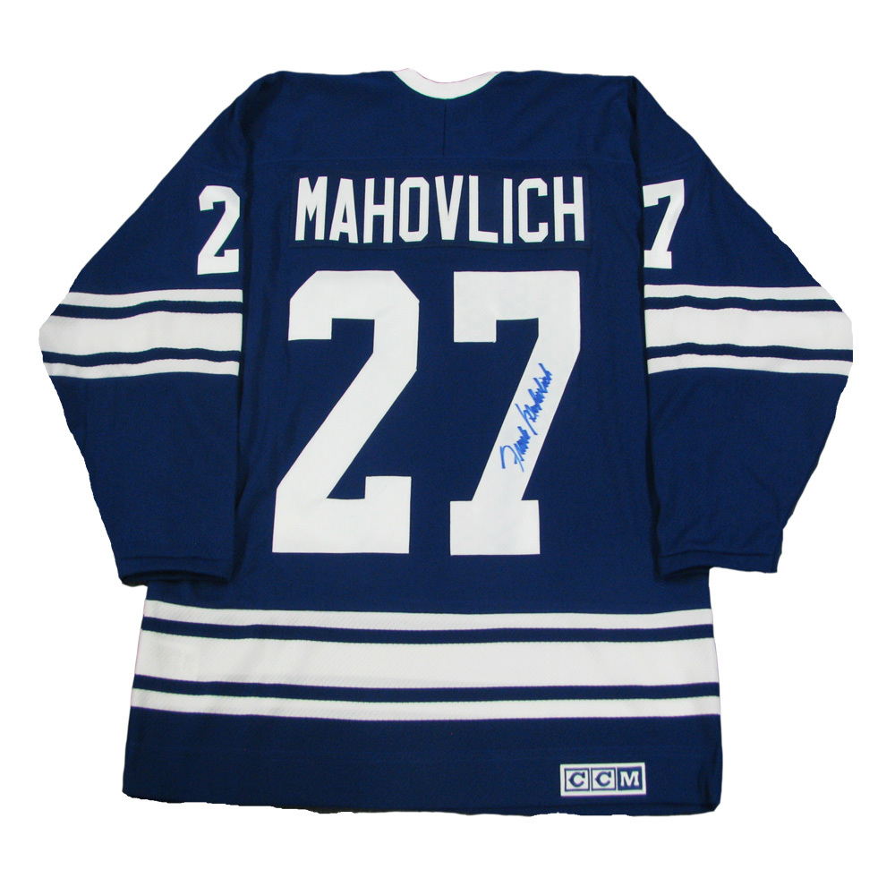 FRANK MAHOVLICH Signed Blue Toronto Maple Leafs CCM Jersey
