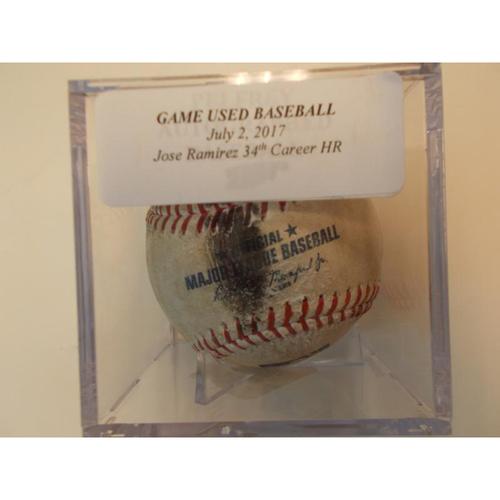 Player Collected Baseball: Jose Ramirez 34th Career Home Run