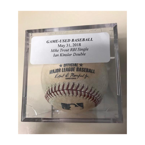 Photo of Game-Used Baseball:  Mike Trout RBI Single & Ian Kinsler Double