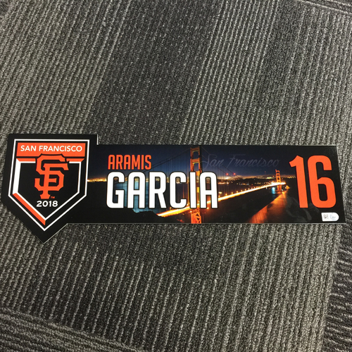 Photo of 2018 San Francisco Giants - Regular Season Game-Used Locker Tag - #16 Aramis Garcia