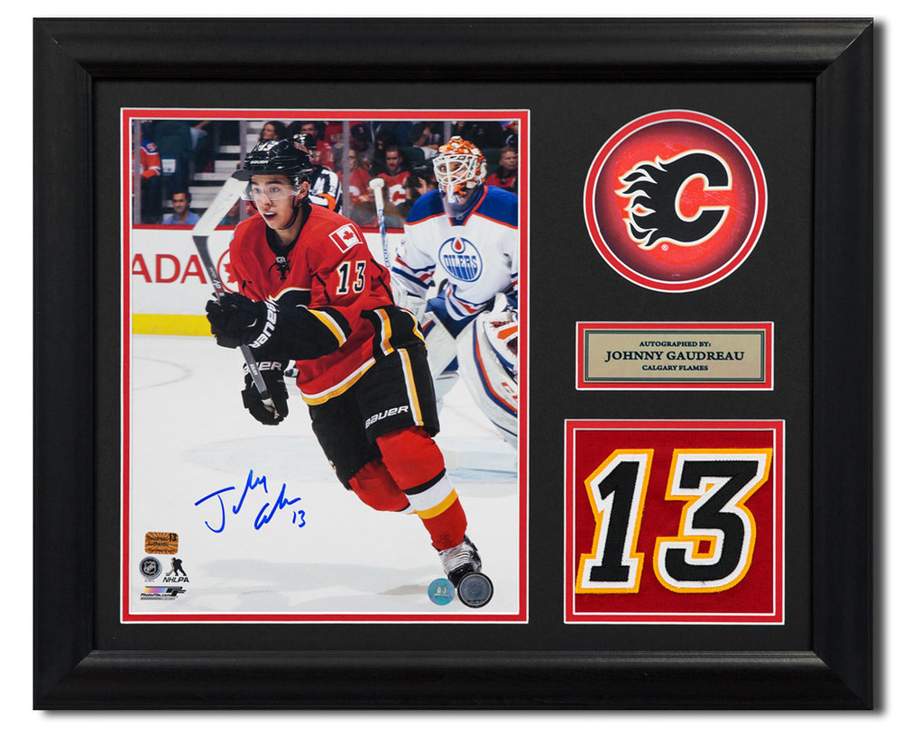 Johnny Gaudreau Calgary Flames Signed Franchise Jersey Number 23x19 Frame