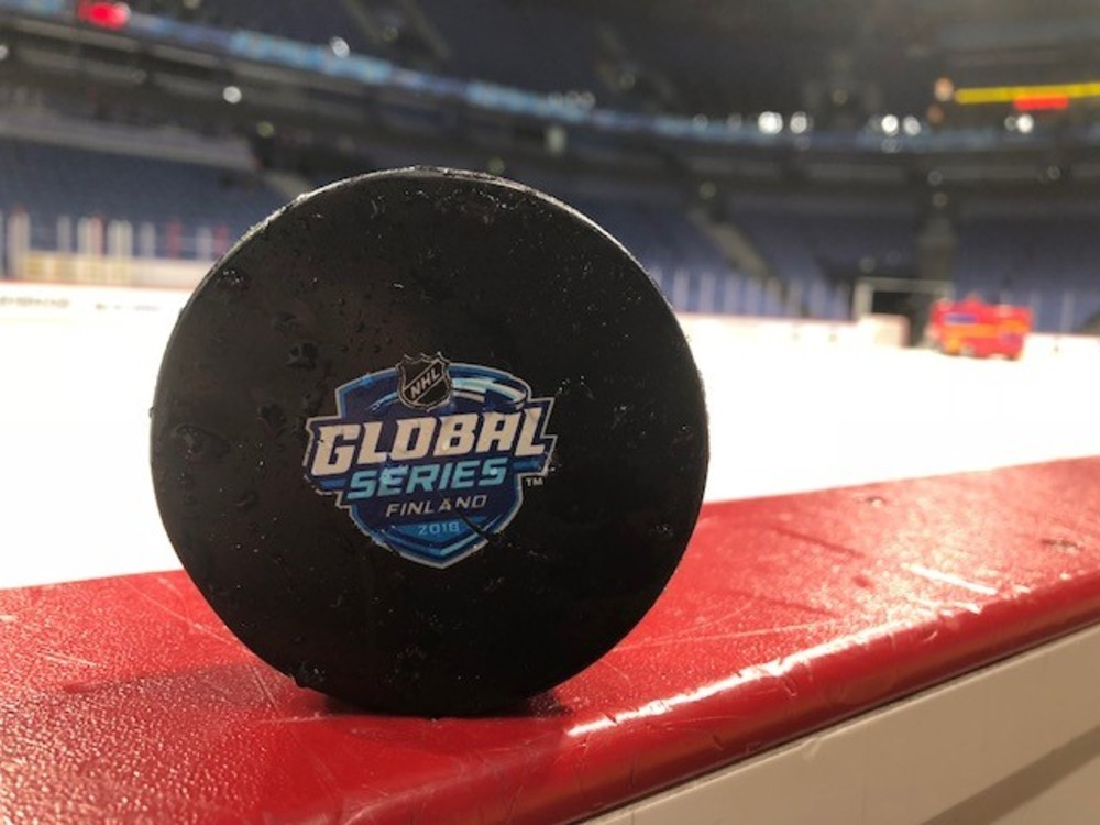 2018 NHL Global Series Finland practice puck - Winnipeg Jets -  October 30, 2018 at the Hartwall Arena in Helsinki, Finland.