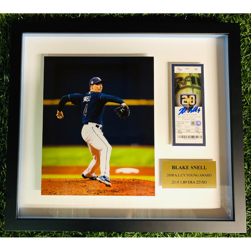 Photo of 2018 Cy Young Framed Piece: Blake Snell (21-5, 1.89 ERA, 221 SO)