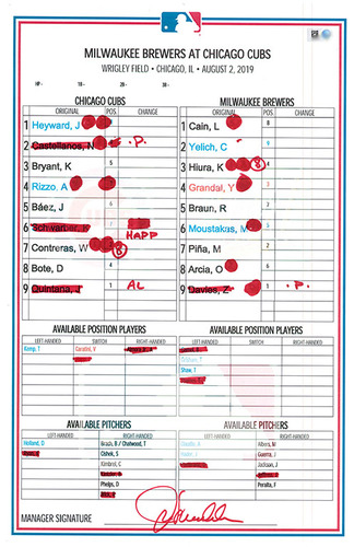Photo of Game-Used Lineup Card -- Baez 3 for 5, 26th HR, 3 RBI; Heyward 16th HR -- Brewers vs. Cubs -- 8/2/19