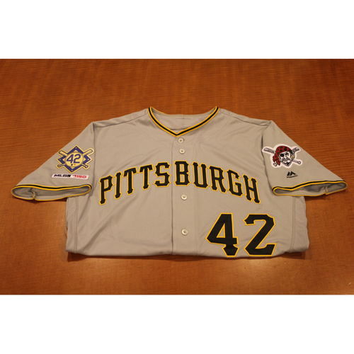 Photo of 2019 Jackie Robinson Day Game Used Jersey - Francisco Cervelli