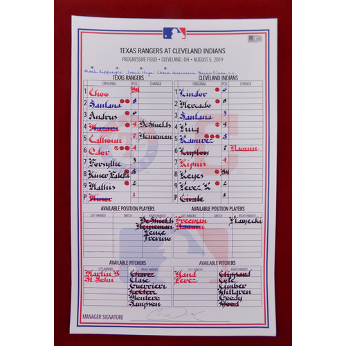 Photo of Game-Used Line-Up Card - August 5, 2019 - Texas Rangers @ Cleveland Indians
