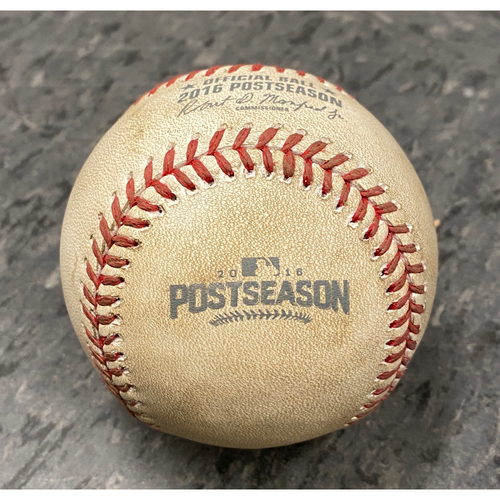 Photo of 2016 NLDS Game 3 Game Used Baseball used on 10/10 vs. Chicago Cubs - B-9: Mike Montgomery to Brandon Belt - Pitch in the Dirt - Walk on Ball 4