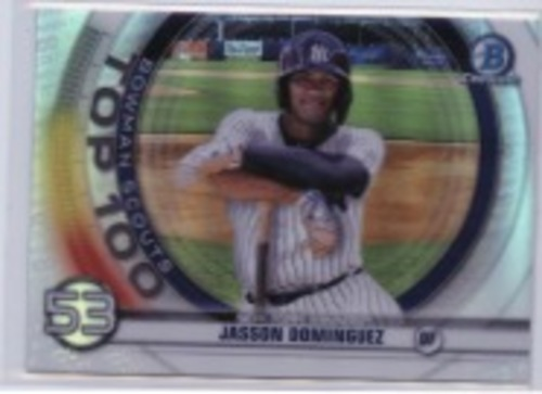 Photo of 2020 Bowman Chrome Scouts Top 100 #BTP53 Jasson Dominguez