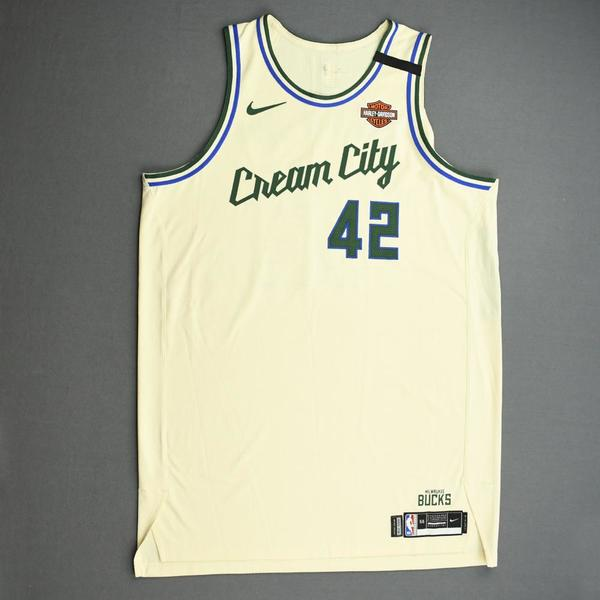 Image of Robin Lopez - Milwaukee Bucks - Game-Worn City Edition Jersey - 2019-20 NBA Season Restart with Social Justice Message