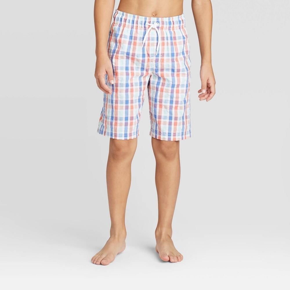 Photo of Boys' Plaid Striped Swim Trunks