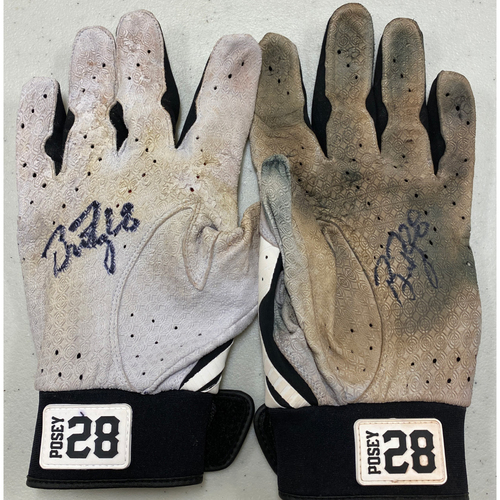 Photo of 2020 Black Friday Sale - #28 Buster Posey Team Issued Autographed White & Black Marucci Batting Gloves