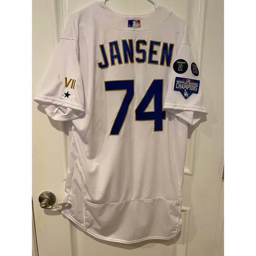 Photo of Kenley Jansen Special-Edition Home Opening Weekend Gold-Outlined Game-Used Jersey