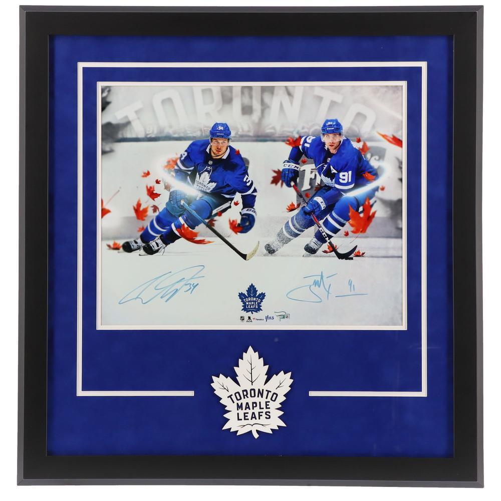 John Tavares & Auston Matthews Toronto Maple Leafs Deluxe Framed Autographed 16
