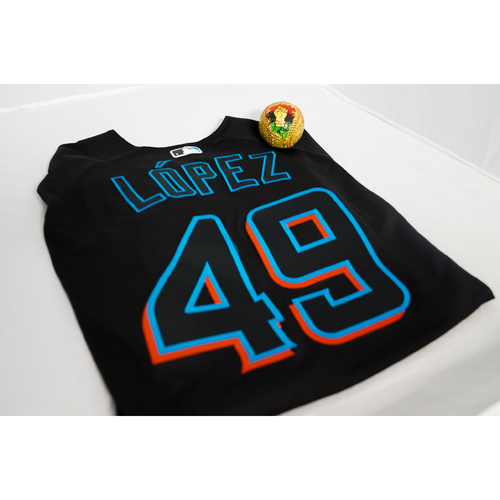 """Photo of Pablo Lopez Team-Issued Jersey with a Specialty """"Juneteenth"""" Baseball Designed by Julian Reams - @jubeanski - Jersey Size 46"""