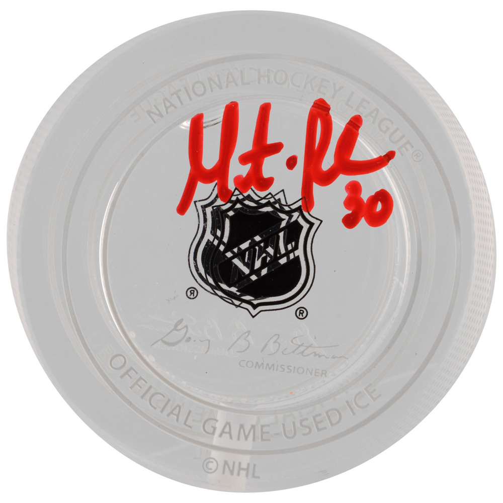 Martin Brodeur New Jersey Devils Autographed Jersey Retirement Night Crystal Puck - Filled With Ice From February 9, 2016 Jersey Retirement Night