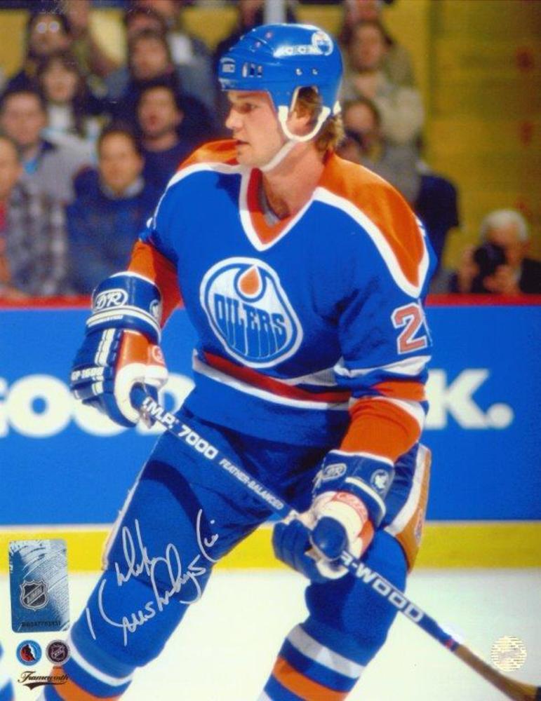 Mike Krushelnyski Signed 8x10 Unframed Oilers Blue