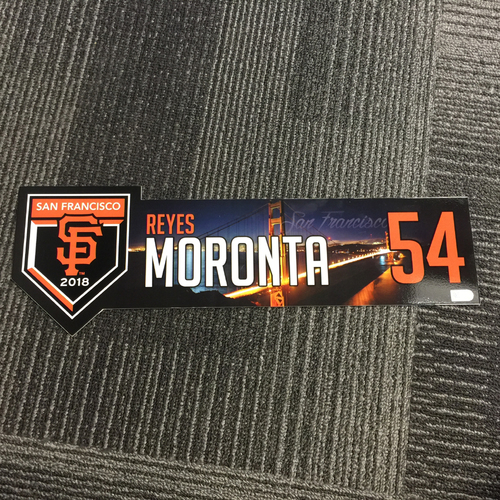 Photo of 2018 San Francisco Giants - Regular Season Game-Used Locker Tag - #54 Reyes Moronta