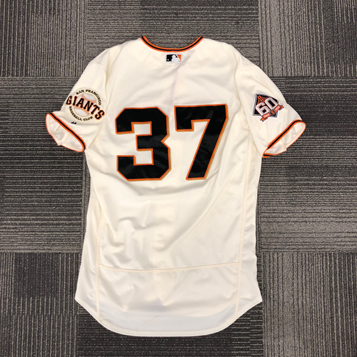 Photo of San Francisco Giants - 2018 Game Used Home Jersey - worn by #37 Kelby Tomlinson - size 44