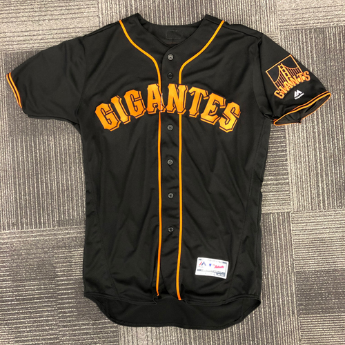 Photo of San Francisco Giants - 2018 Holiday Deal! - 2018 Game Used Fiesta Gigantes Alternate Black Jersey - worn by #5 Nick Hundley on 9/15/18 - size 46