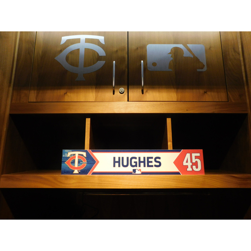 Photo of 2018 Phil Hughes Game-Used Locker Name Plate