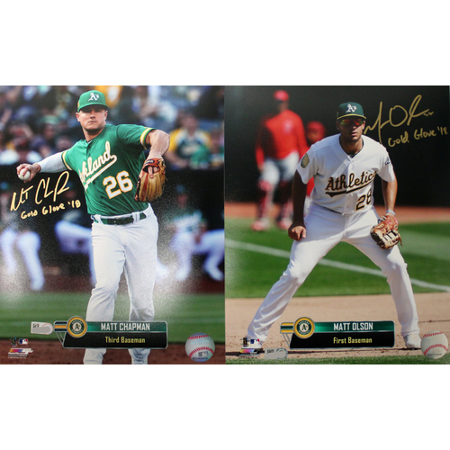 "Photo of Matt Chapman & Matt Olson Autographed 8""x10"" Photos w/ ""Gold Glove '18"" Inscription"